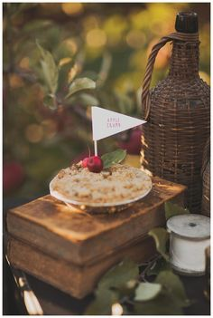 Dessert display with vintage details and apple accents. Styling by Sarah Park Events, florals by Petal and Print, vintage rentals from Rusty Love Vintage Rentals, paper goods by Frills paper + goods. Photographed at Baugher's Orchard by Nessa K Photography. #wedding #inspiration