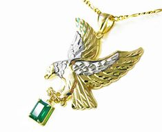 Eagle emerald pendant for men