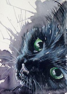 Black cat, Painting by Kovács Anna Brigitta | Artfinder