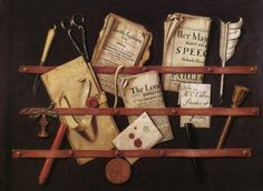 Organization, 17th Century Style; trompe l'oeil painting by the Dutch painter Edward Collier. I think this would be super easy to recreate.