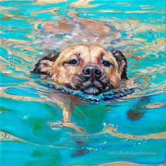 Hand-painted Animal Oil Painting - Swimming Dog #painting, #art, #dog