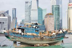 cai guo qiang sends 99 animals aboard the ninth wave in shanghai - designboom | architecture