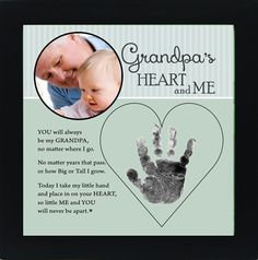 Grandpa will love this handprint frame for him- a little hand on his heart!
