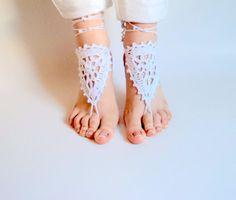 Barefoot sandles WHITE Barefoot sandals Wedding by beyazdukkan, $11.00