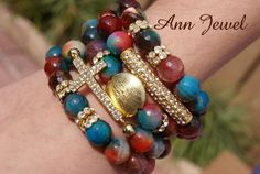 Handmade. With semi-precious stones and ornaments on Gold www.facebook.com/...