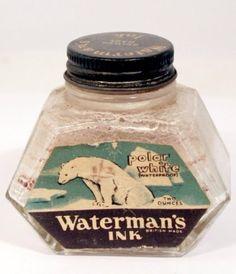 Waterman Polar White waterproof Ink Bottle British Made rare label v0840