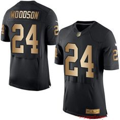 76872ad86c9  22 Men s Oakland Raiders  24 Charles Woodson Black With Gold Stitched NFL  Nike Elite Jersey