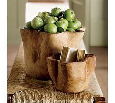 Love these natural Hand-Carved Wood Bowls - Pottery Barn Pottery Barn, Living Room Accessories, Home Accessories, Contemporary Tabletop, Portia De Rossi, Wood Bowls, Rustic Bowls, Decorating On A Budget, Hand Carved