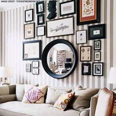 Nice arrangement to replace spare room behind the bed. Circle mirror