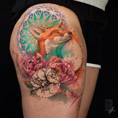 Happy Fox Tattoo by Alberto Cuerva Anime Tattoos, Disney Tattoos, Sexy Tattoos, Body Art Tattoos, Sleeve Tattoos, Cool Tattoos, Tatoos, Hand Tattoos, Deer Tattoo