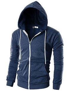 e2d59774aa9b Men s Clothing - Ohoo Mens Slim Fit Long Sleeve Lightweight Zipup Hoodie  With Kanga Pocket -