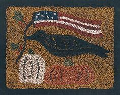 Crow/Americana. I cannot make punchneedle look pretty.  I need a teacher to show me the right way.