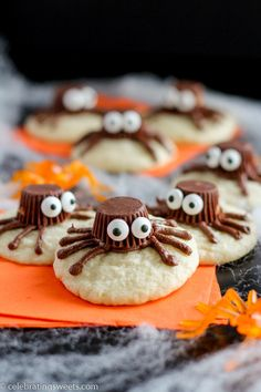 Spider Cookies- Sugar cookies decorated with chocolate frosting and mini peanut…