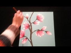 Tanja Bell How to Paint Cherry Blossom Tree Painting Tutorial Lesson Technique Pink White Blossom Acrylic Painting For Beginners, Easy Canvas Painting, Acrylic Painting Tutorials, Step By Step Painting, Beginner Painting, Painting Videos, Painting Lessons, Painting Tips, Painting Techniques
