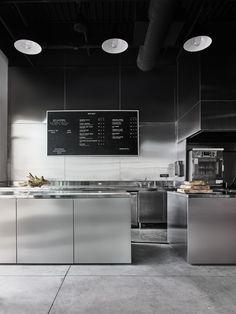 Modern open kitchen restaurant design open kitchen at bad lab beer co restaurant kitchen cabinets . Layout Design, Design Café, Nordic Design, Cafe Interior Design, Kitchen Interior, Restaurant Kitchen Design, Architecture Restaurant, Interior Architecture, Café Bar