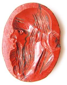 This is an ancient Roman hardstone intaglio, dating to the 2nd century A.D. It bears a fine portrait of a bearded philosopher, identified as Socrates. Such an intaglio would have been set within a gold or silver finger ring, used to seal documents and letters by an educated Roman citizen. It has survived in good excavated condition, slight chip behind his head, but with jasper being quite soft, chipping is quite common. Today this gem is suitable for remounting within a gold ring,..