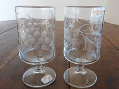 RARE Vintage Mountaineer Cut Glass Wine Goblets Grape Design PAIR ...