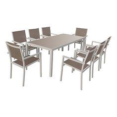 Table octogonale Olympe verre galet 8 places - Aluminum, Verre ...