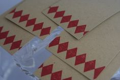 Hand Made Gift Tag Red Harlequin Set of Five