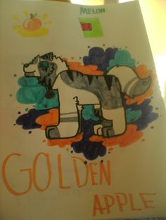 My drawing of meh new OC Golden Apple. Why is there a poopooing melon in the drawing??????!     drawn by @Angle Feather