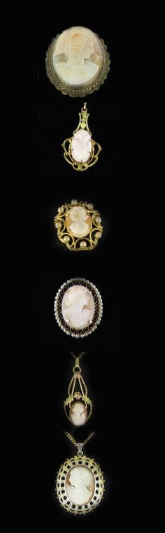 Hand carved shell cameo jewelry