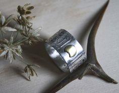 Bague Stonehenge 2, bijou lune et nœuds celtiques en argent et laiton