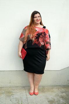 Plus... Kawaii! - A plus size fashion blog: Outfit: nero e rosso con i #fioridiBarbieri