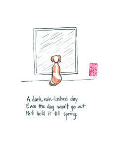 Dog on rainy day. Original haiku and sumi ink painting