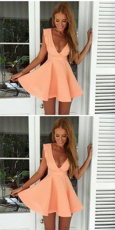 mini dresses for girls, chic deep v-neck orange homecoming dresses, semi- formal dresses.