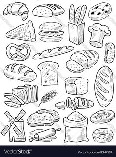 Vector image of Hand drawn bread Vector Image, includes black, drawing, sketch, drawn & icon. Illustrator (.ai), EPS, PDF and JPG image formats.