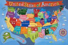 Kid's USA Laminated Map Posters at AllPosters.com