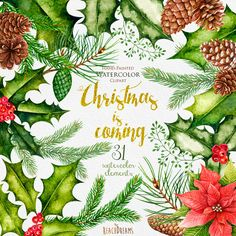 Christmas Watercolor Clipart, New Year decoration, Holiday hand painted clip…