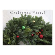Lush Christmas wreath Christmas party invitations #Christmaspartyinvite, #celebration, #holidaypartyinvitation, #wreath, #corporate