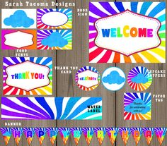 Rainbow Birthday Party Pack  Banner Cupcake by SarahTacomaDesigns