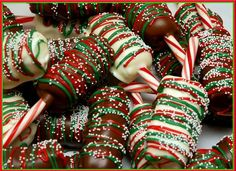 Chocolate dipped marshmellows on candy cane