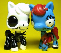 Nightmare Before Christmas Jack Sally OOAK Custom Littlest Pet Shop Halloween LP #Hasbro