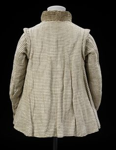 Jacket Place of origin: England, Great Britain Date: 1605-1620 Materials and Techniques: Linen striped with silk and silver strip, linen, linen thread, silk ribbon, silver thread-covered buttons Museum number: 188-1900 | V&A