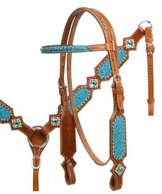 Western Set of  Headstall and Breast Collar with Clear Stone Studded