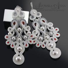561 Anna Lipowska LiAnna Biżuteria sutasz soutache www. Boho Jewelry, Jewelry Art, Wedding Jewelry, Beaded Jewelry, Jewelery, Jewelry Design, Soutache Pendant, Soutache Necklace, Earrings Handmade