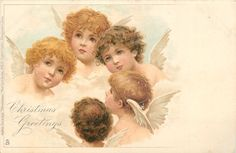 ■ Tuck DB...    heads of five angels,  artist: possibly Frances Brundage  (unsigned) (25/12/1903)