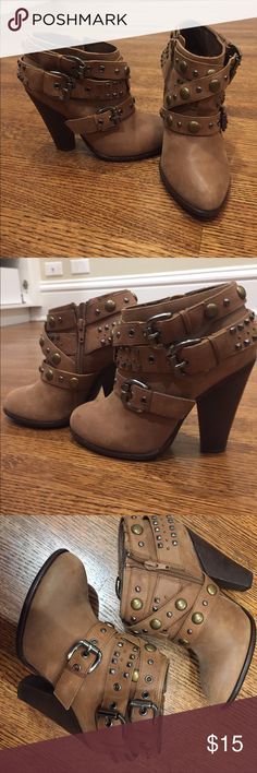 Studded ankle booties Adorable studded ankle booties on high heels. Love them but they are too small for me, time to let go of them! Great condition, worn maybe 2 times. True to size. Real leather Penny Loves Kenny Shoes Ankle Boots & Booties