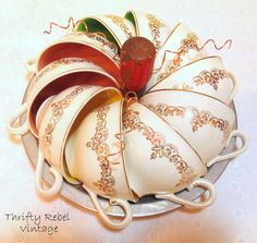 How to make an easy repurposed teacup pumpkin using vintage teacups and a baking pan.