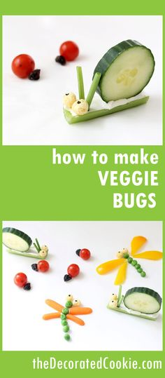vegetable bugs for kids -- a fun and healthy snack How to make simple vegetable bugs, a fun food idea for kids. Great for bug parties!How to make simple vegetable bugs, a fun food idea for kids. Great for bug parties! Vegetable Snacks, Vegetable Recipes, Vegetable For Kids, Kid Vegetables, Vegetable Animals, Veggies, Good Healthy Snacks, Healthy Snacks For Kids, Toddler Meals