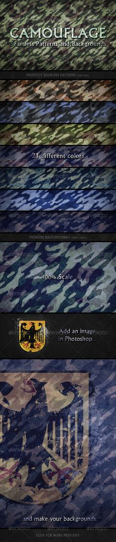 Camouflage Seamless Patterns  #stealth • Click here to download ! http://graphicriver.net/item/camouflage-seamless-patterns/162512?ref=pxcr
