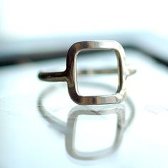 Silver Square Ring - Delicate Geometric Shape Ring - Open Square - Recycled Sterling Silver - Modern Funky Cool