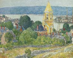 Shingling the First Baptist Church, Gloucester  - Childe Hassam