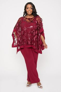 Women S Plus Size Maxi Dresses With Sleeves Mother Of The Bride Plus Size, Mother Of The Bride Dresses Long, Mother Of Bride Outfits, Plus Size Formal Dresses, Plus Size Outfits, Pantalon Costume, Modelos Plus Size, Looks Plus Size, Plus Size Pants