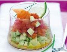 Salmon, avocado and grapefruit verrines