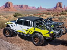 The Jeep Flatbill pickup is ready for dirt bike adventures - Roadshow Compact Pickup Trucks, New Pickup Trucks, Jeep Pickup, Jeep Truck, Jeep Concept, Concept Cars, Jeep Performance Parts, Moab Jeep