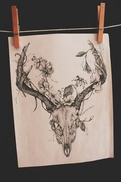 #tattoo #deer #skull #organic #floral #flowers #branches #growth #growing #forest